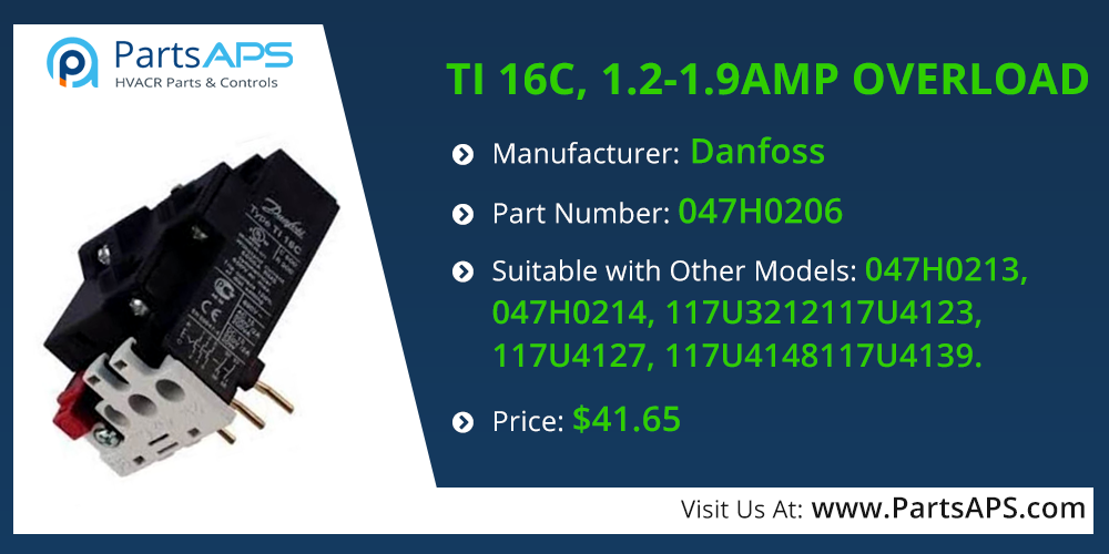 TI 16C, 1.2-1.9AMP OVERLOAD For Danfoss Part# 047H0206-Danfoss Parts: PartsAPS