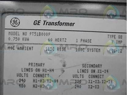 Picture of Trans.240/480 to 120/240  For General Electric Products Part# 9T51B0009