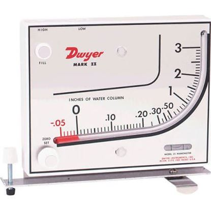 "Picture of .1-0-1""WC PLASTIC MANOMETER For Dwyer Instruments Part# MARK II-40-1"