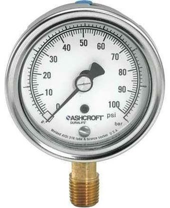 "Picture of 3.5"" 0/100 1/4""lwr PRES GAUGE For Ashcroft Part# 35W1005H-02L-0/100"